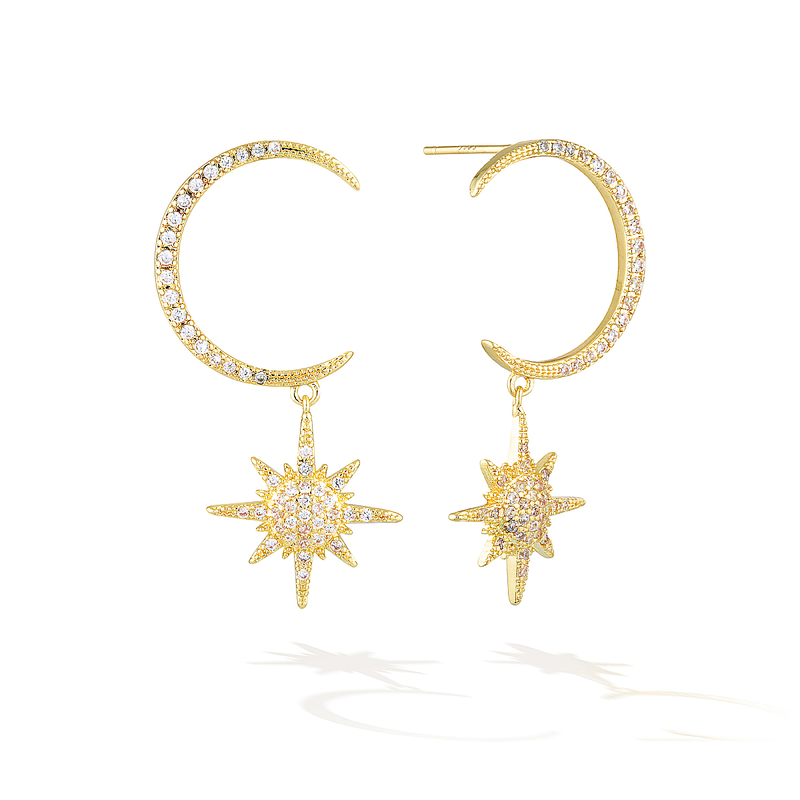 Milky Way Voyage Earrings - Yellow Gold