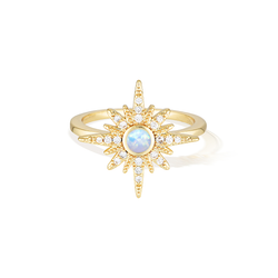 Sunset and Sea Foam Ring - Yellow Gold