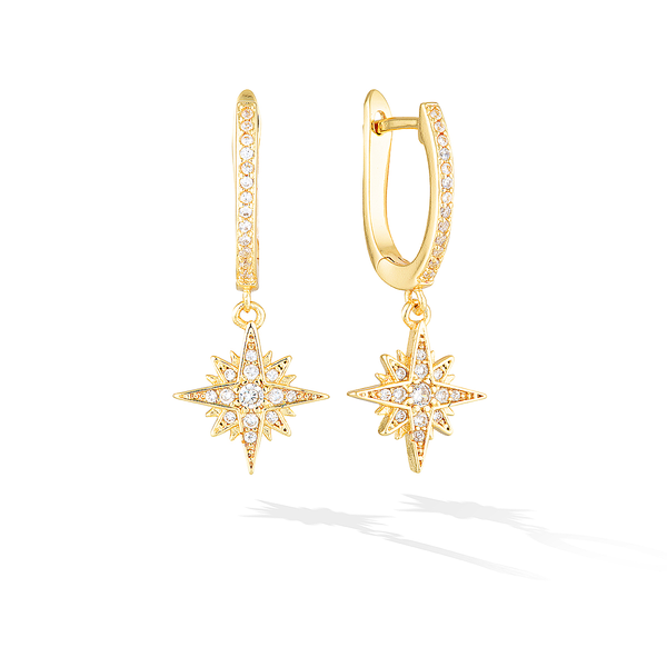 Binary Solaris Hoop Earrings - Yellow Gold