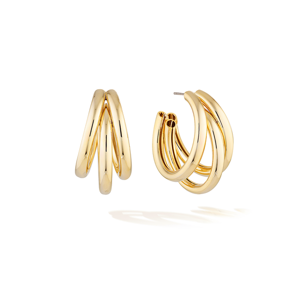 Sunset Boulevard Chunky Hoops - Yellow Gold