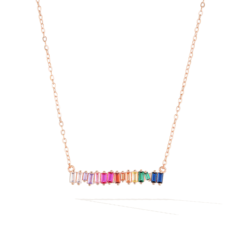Bifröst Rainbow Pride Necklace - Rose Gold