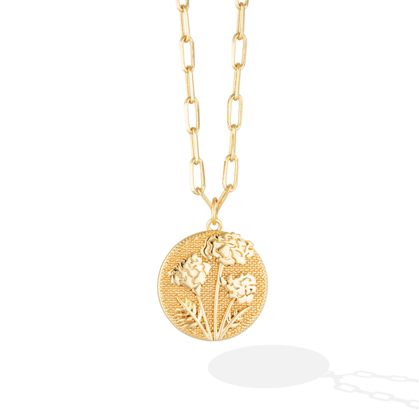October Birthflower Necklace - Merry Marigold