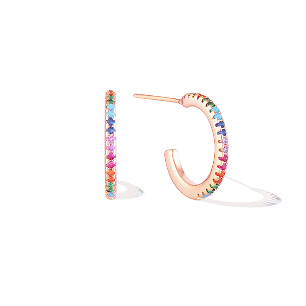 Dainty Bifröst Rainbow Pride Earrings - Rose Gold