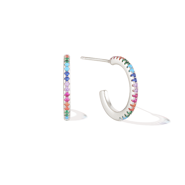 Dainty Bifröst Rainbow Pride Earrings - Silver