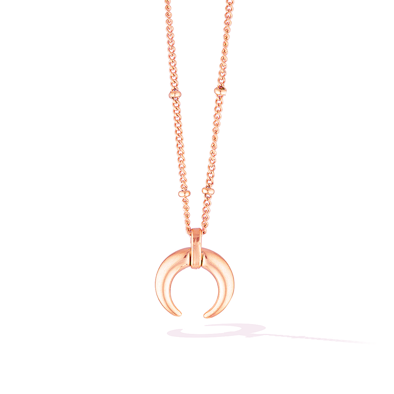 De La Luna Crescent Moon Necklace - Rose Gold