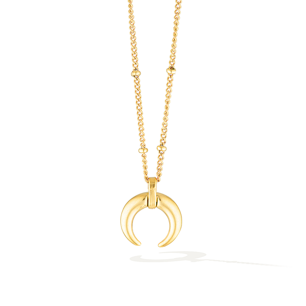 De La Luna Crescent Moon Necklace - Yellow Gold