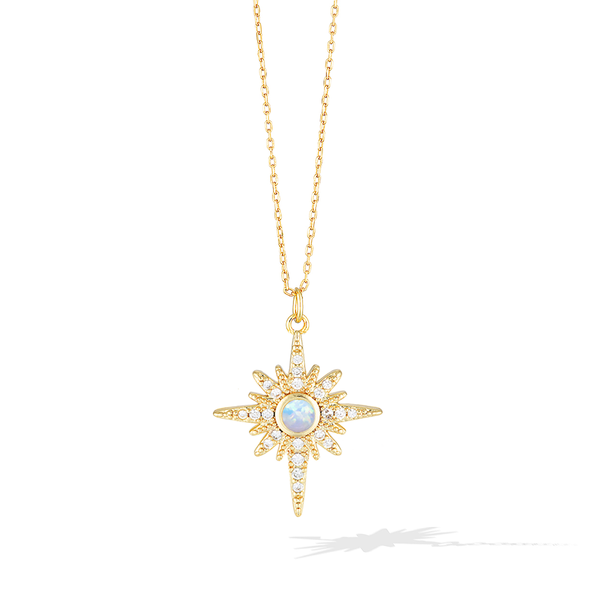 Sunset and Sea Foam Necklace - Yellow Gold