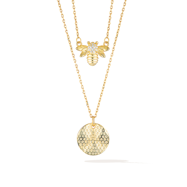 Bee Mine Necklace Set - Yellow Gold