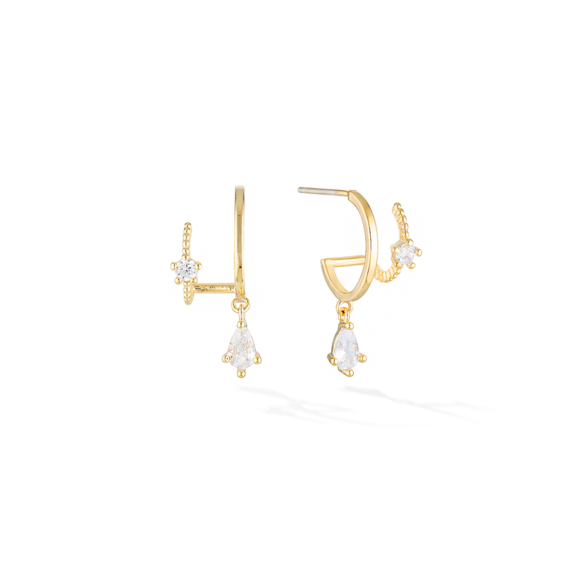 Shooting Star Earrings - Yellow Gold