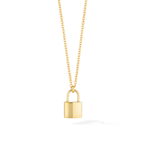 The Manor Padlock Medallion Necklace - Yellow Gold