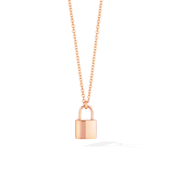 The Manor Padlock Medallion Necklace - Rose Gold