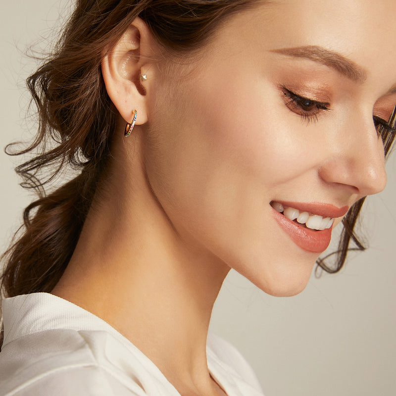 Dainty Bifröst Rainbow Pride Earrings - Yellow Gold