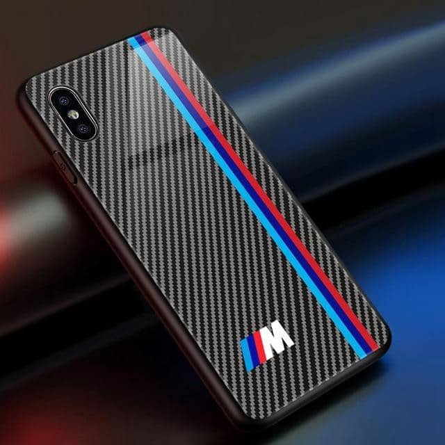 M/AMG/GT-R Tempered Glass Carbon Fiber Case for Iphone - For iphone XS Max / M - TrendGadgetsHome