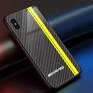 M/AMG/GT-R Tempered Glass Carbon Fiber Case for Iphone - For iphone XS Max / AMG Yellow - TrendGadgetsHome