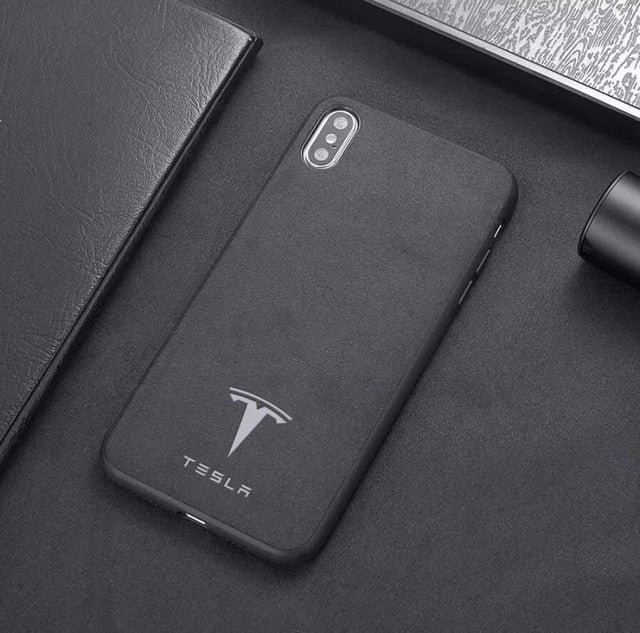 Tesla Logo Alcantara Case for Iphone - iPhone 7 8 - TrendGadgetsHome