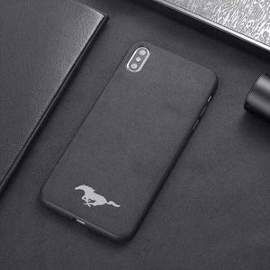 Car Logo Alcantara Case for Iphone X/XR/XS/XS Max - Mustang Pony / for iphone XS - TrendGadgetsHome