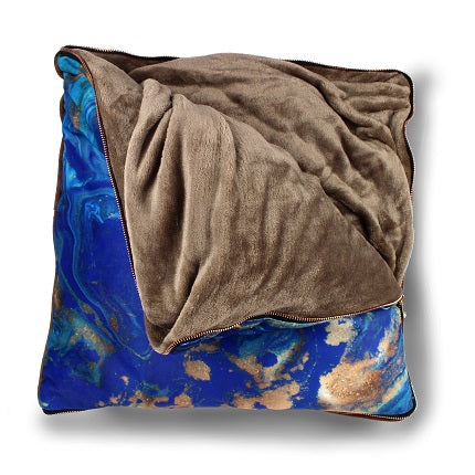 imoha plaid pillow blue marble deken