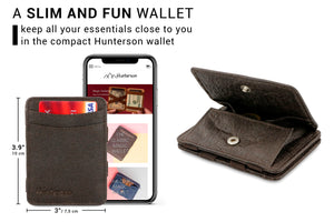 Hunterson Vegan RFID Magic Coin Wallet - Chestnut - 2