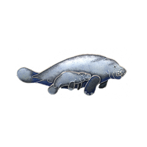 Pin Manatee and Calf Enamel
