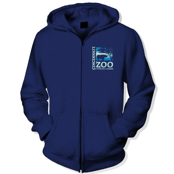 Hoody Zip Up Logo Navy