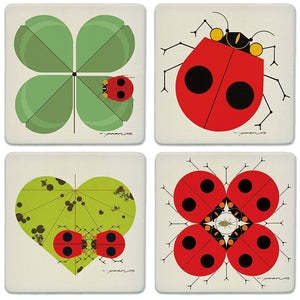 Coaster Set Harper Ladybugs