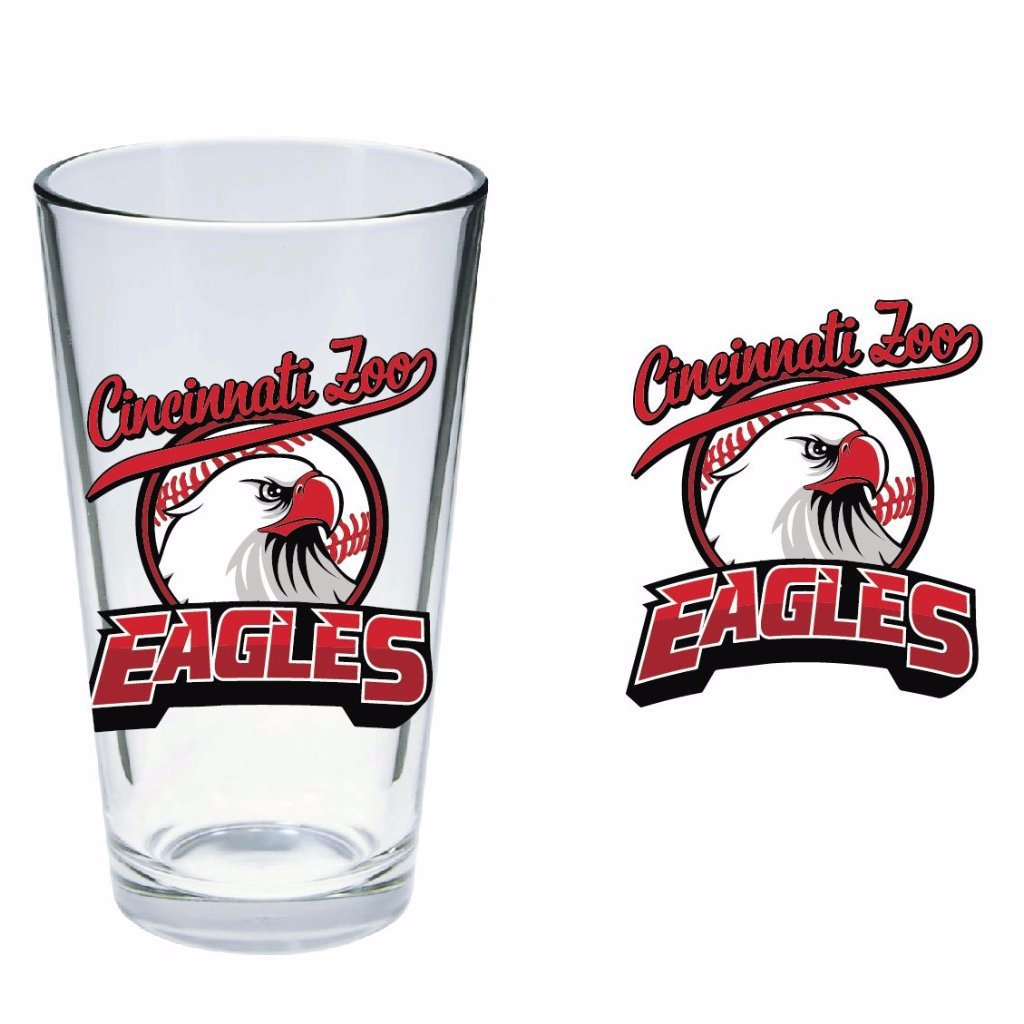 Pint Glass Eagles Red Baseball