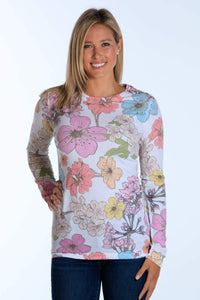 Scattered White Floral long sleeve thermal crew neck