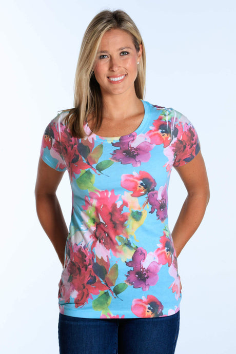 Turquoise Water Color short sleeve crew neck