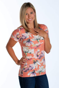 Orange Water Floral short sleeve v-neck