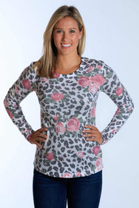 Pink Rose Leopard long sleeve crew neck