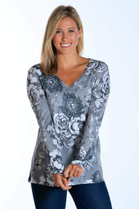 Grey Victorian Roses long sleeve v-neck