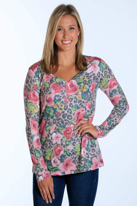 Rose Leopard long sleeve v-neck