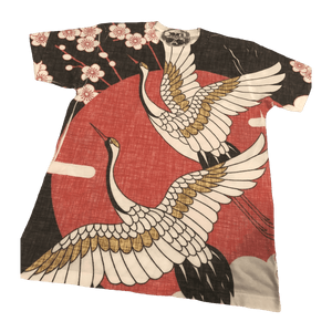 'Floral Crane' All Over Print Tee | Unisex Size XS-XXL