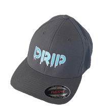 Load image into Gallery viewer, Embroidered Drip text logo powder blue dark grey flex fit hat