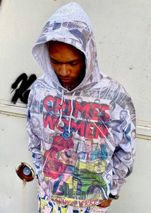 Crime by women all over print graphic hoodie