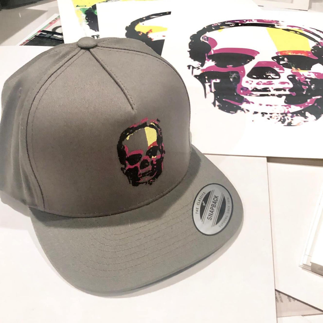 KMG Purple Skull embroidered graphic snapback