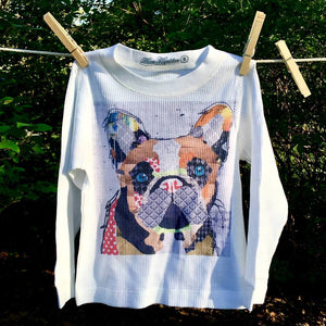 Otis the Frenchie abstract graphic print youth thermal