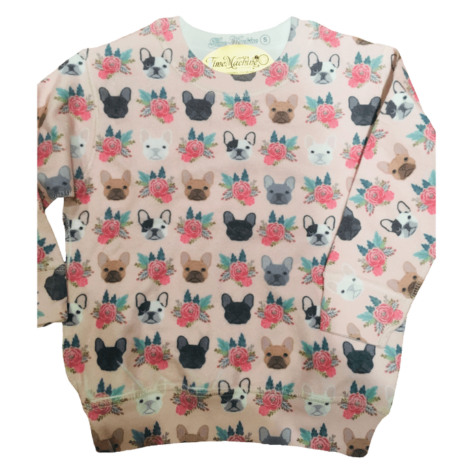 Frenchie and Flowers all over print pattern youth sweatshirt