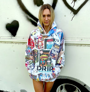 Pop collage all over graphic print hoodie unisex