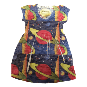 Space graphic repeat all over print pattern youth dress