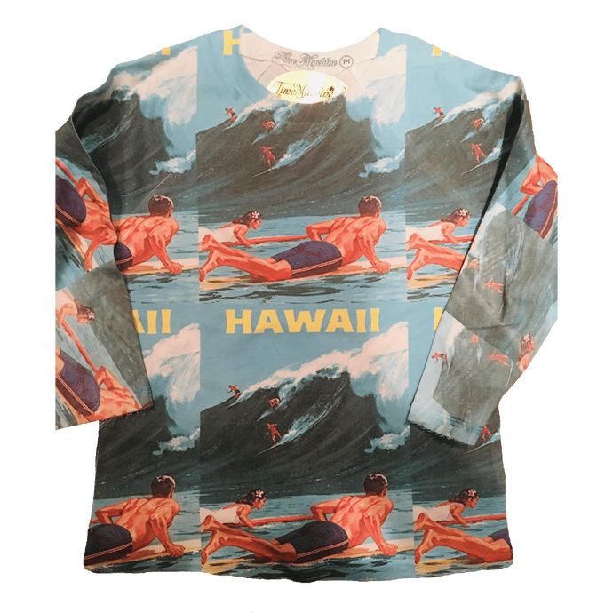 HAWAII repeat all over print pattern youth long sleeve t-shirt
