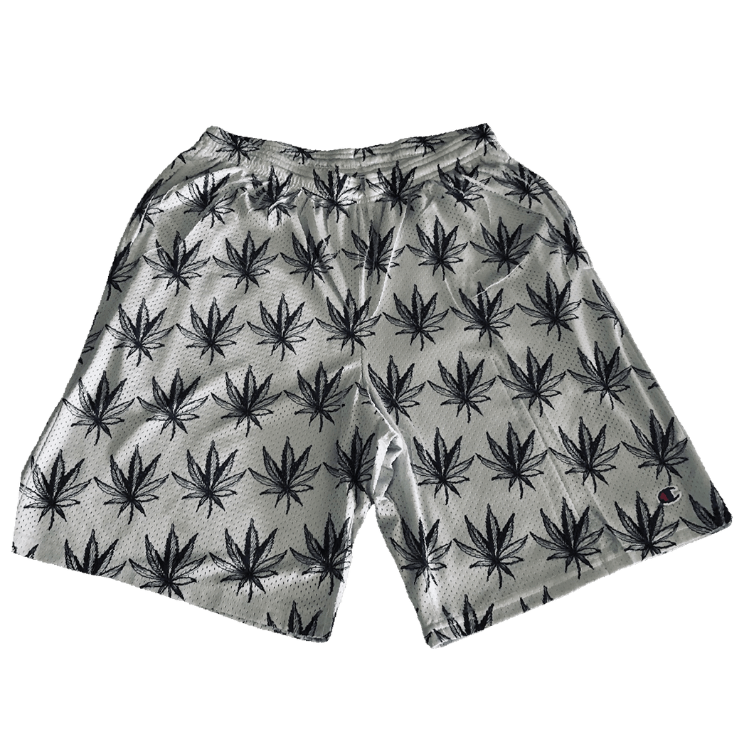 Weed Leaf repeat all over print pattern champion athletic shorts