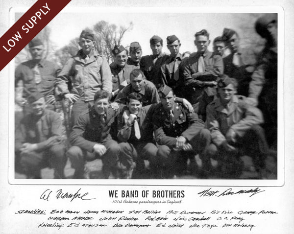 3 101st Airborne vets! Band of Brothers Poster #2 Autographed by Don Malarkey