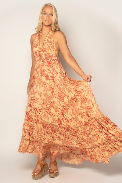 Bloomy Maxi Halter Dress
