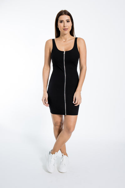 Full Zipper Black Tank Dress