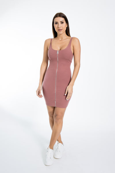 Full Zipper Terracotta Tank Dress