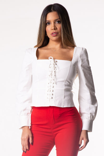 White Lace Up Long Sleeve Top