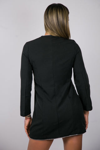 Black Long Sleeve Moto Dress