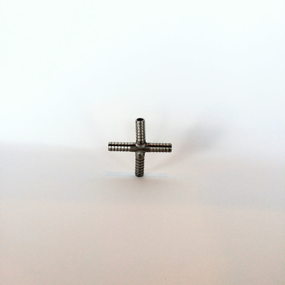 "1/4"" Barbed Cross, Stainless Steel"