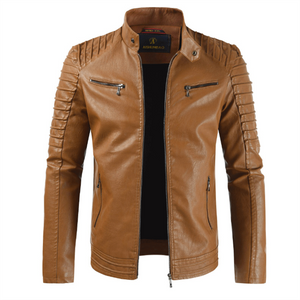Fashion Cashmere Removable Hooded Stand Up Collar Leather Jacket